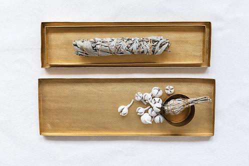 Rectangle Matte Brass Textured Metal Trays (Set of 3 Sizes)