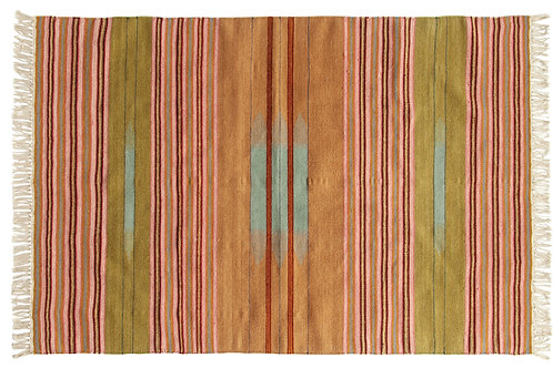 4' x 6' Multicolor Striped Handwoven Wool Blend Kilim Rug with Fringe