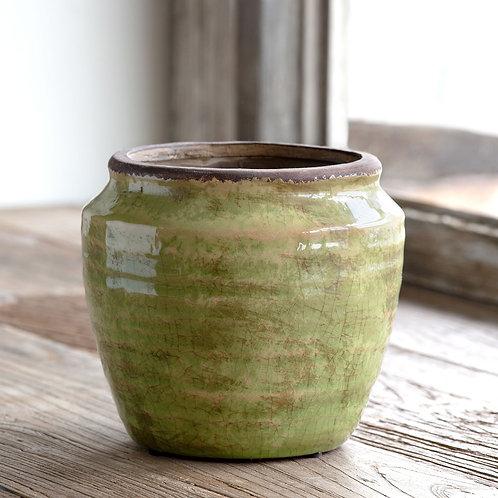 Chartreuse Glazed Ginger Jar, Large