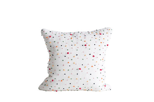 Square White Cotton Pillow with Multicolor Polka Dots & French Knots