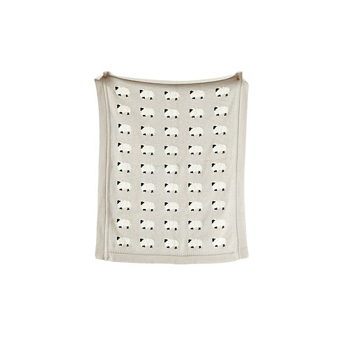 Grey Cotton Knit Sheep Blanket
