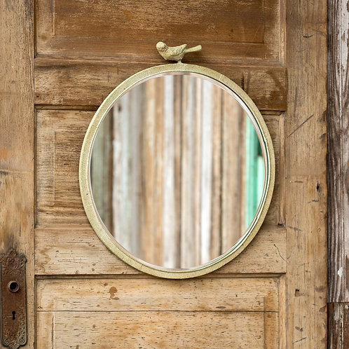 Rustic Round Mirror with Bird Detail