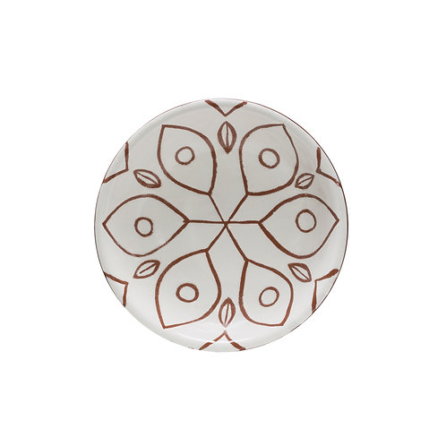 White & Sienna Patterned Terracotta Bowl