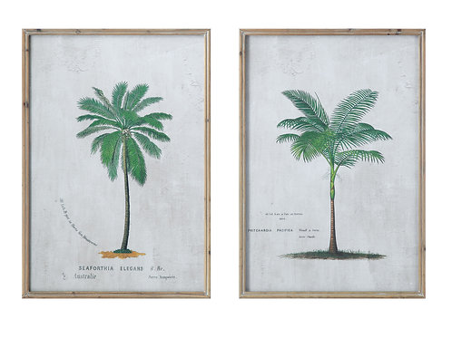 Palm Tree Wall Decor in Rectangle Wood Frame (Set of 2 Designs)