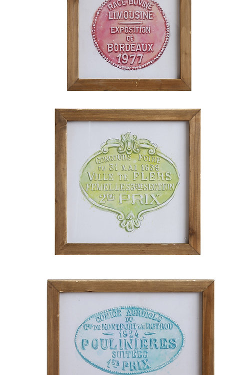 Wood Framed Wall Decor (Set of 3 Styles)