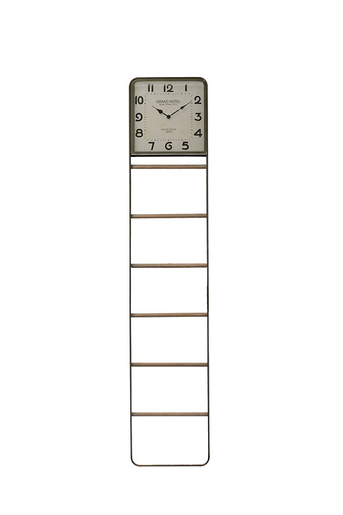 Decorative 6-Tier Wood & Metal Ladder with Top Section Square Clock