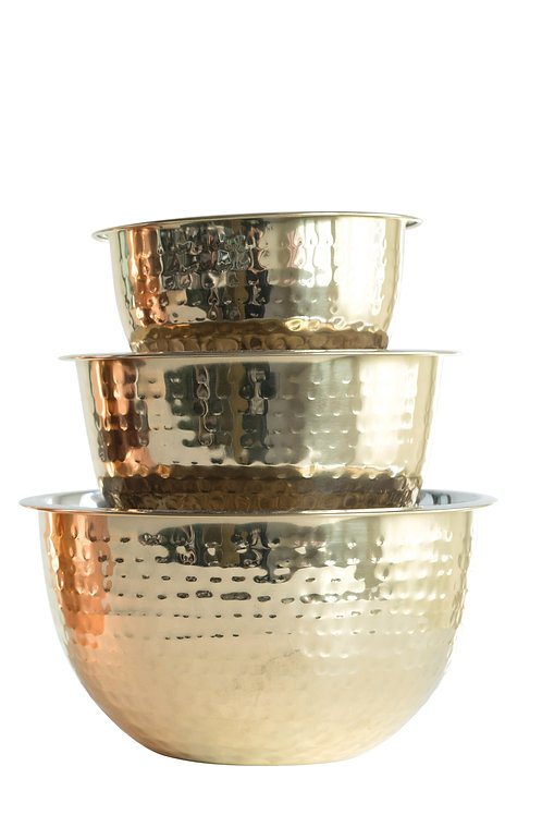 Hammered Stainless Steel Bowls in Gold Finish (Set of 3 Sizes)