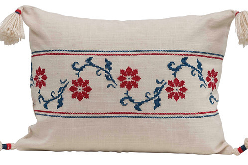 Rectangle Floral & Stripes Cross-Stitch Cotton Lumbar Pillow with Tassel Corners
