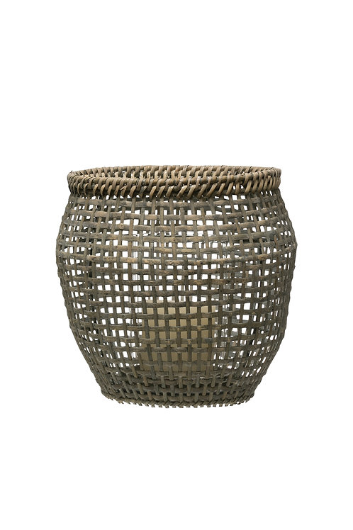 "8.25""H Woven Rattan Lantern with Glass Insert"