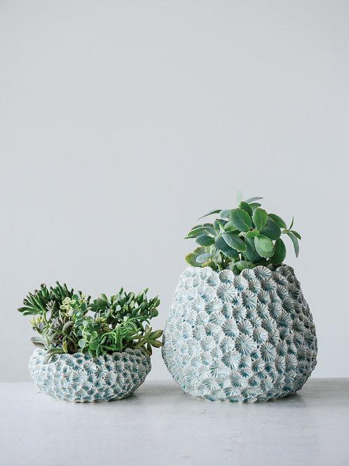 Light Blue Textured Ceramic Planter
