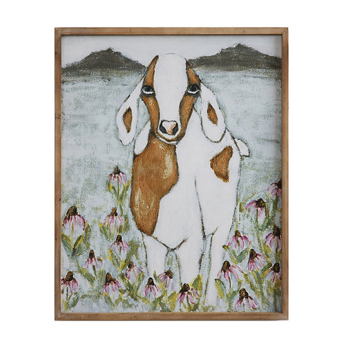 Wood Framed Canvas Goat Wall Decor