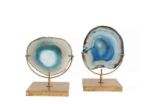 Decorative Agate Stone Slice on Metal Stand