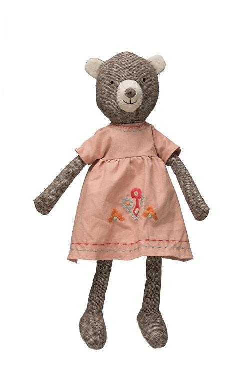 Fabric Plush Bear in Pink Dress