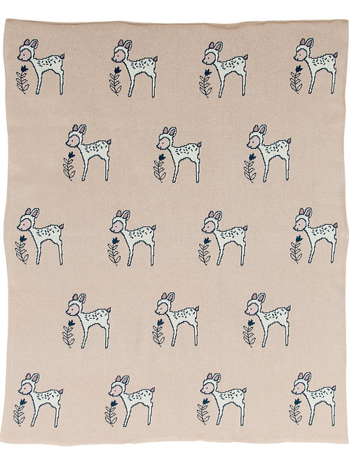 Pink Cotton Knit Baby Blanket with Fawn Images