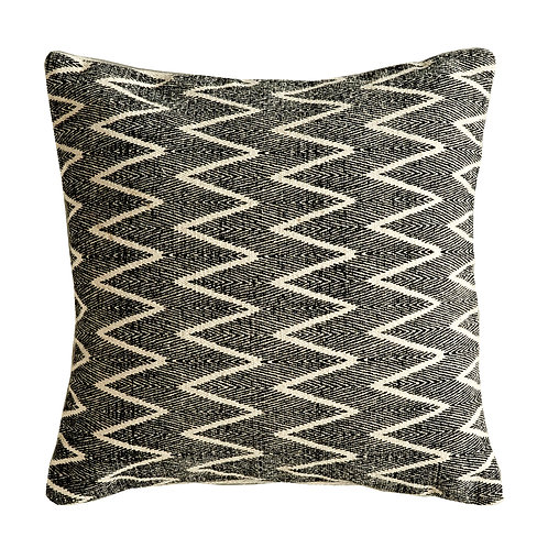 Square Cotton Black & White Pillow with Zig Zag Design