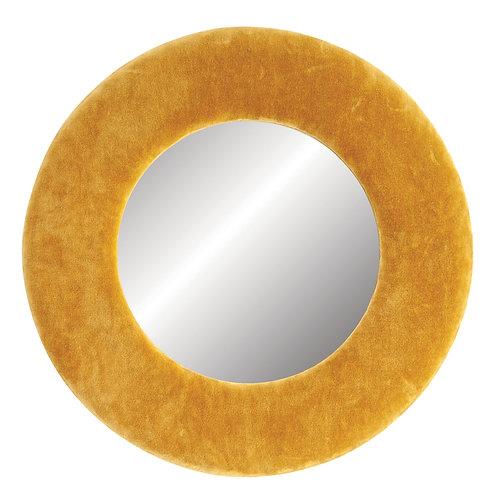 Round Wall Mirror with Mustard Yellow Velvet Frame