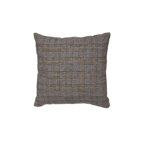 Reversible Square Grey Plaid Wool Blend Pillow