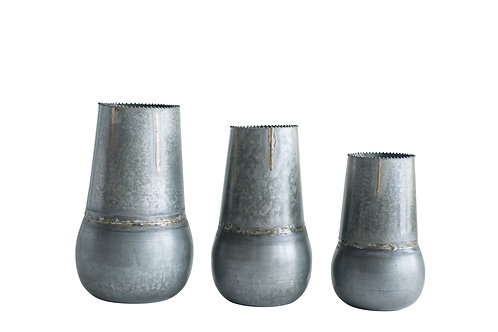 Round Galvanized Metal Vases (Set of 3 Sizes)