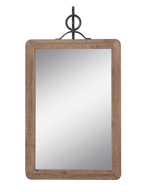 Large Wood Framed Rectangle Wall Mirror (Set of 2 Pieces)