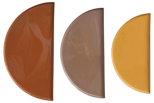Enameled Metal Half-Circle Trays (Set of 3 Sizes/Colors)