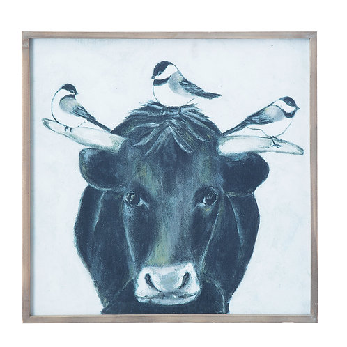 Bull with Birds on Canvas in Wood Frame Wall Decor