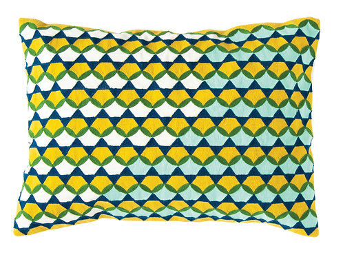 Rectangle Yellow, Green & Blue Cotton Embroidered Pillow