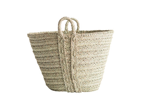 Handwoven Moroccan Harvest Basket with Handles