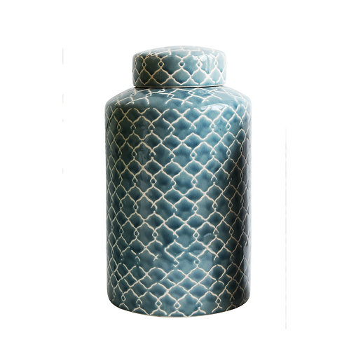 Blue & White Hand Painted Stoneware Ginger Jar with Lid