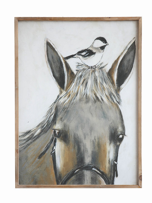 Wood Framed Horse & Bird Wall Decor