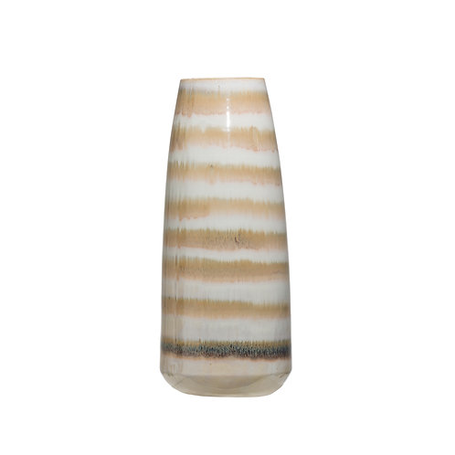 Brown & Cream Striped Stoneware Vase (Each one will vary)