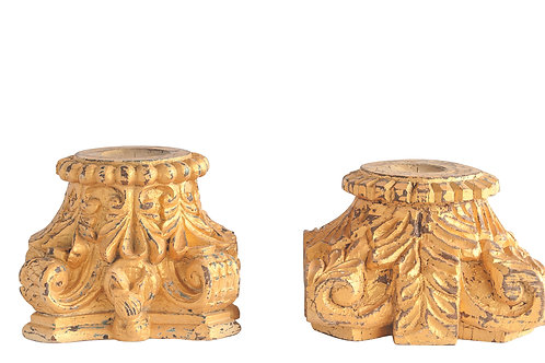 Distressed Gold Found Decorative Wood Column Candleholder (Each one will vary)