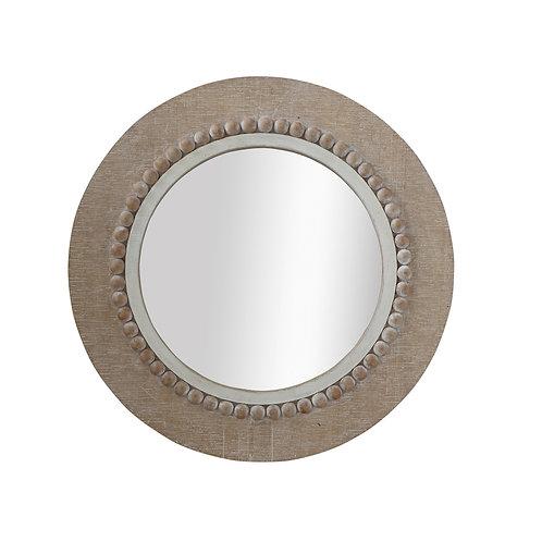 Round Decorative Wood Wall Mirror