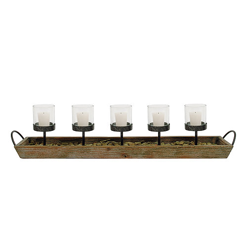 5 Metal Votive Candleholders in Rectangle Wood Tray with Handles