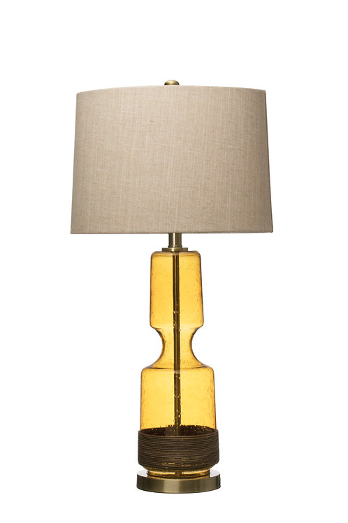 Seeded Glass & Rattan Table Lamp with Metal Base & Linen Shade