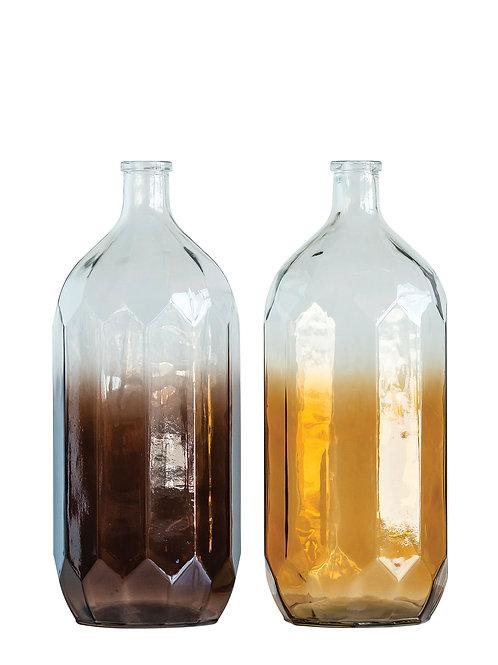 Large Decorative Glass Bottle (Set of 2 Transparent Colors)