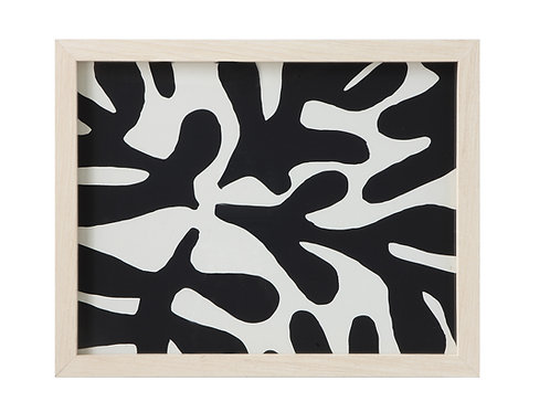 Black & White Abstract Wall Decor with Wood Frame