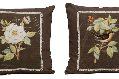 Square Floral Embroidered Cotton Pillow with Fringe Accent (Set of 2 Patterns)