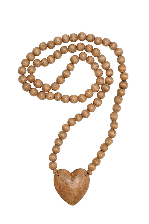 Hand Carved Wood Beads with Heart