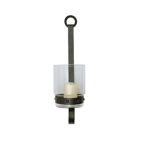 Glass and Metal Wall Sconce Candleholder
