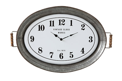 Oval Metal Wall Clock with Serving Tray Design