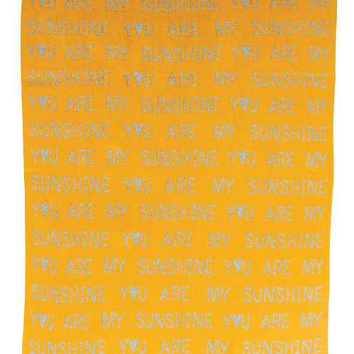 "Mustard ""You are My Sunshine"" Cotton Knit Baby Blanket with Grey Stitching"