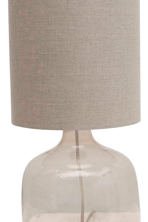 Transparent Glass Table Lamp with Cotton Shade