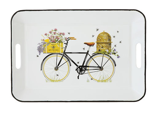 White Enameled Tin Tray with Bicycle & Bees Image