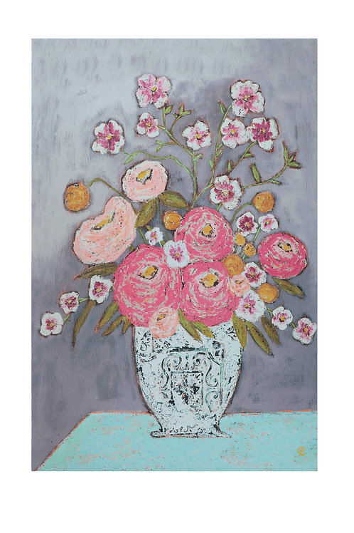 Pink Flowers in Vase Wrapped Canvas Wall Art
