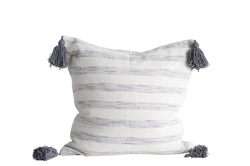 White & Grey Striped Cotton Woven Pillow with Tassels