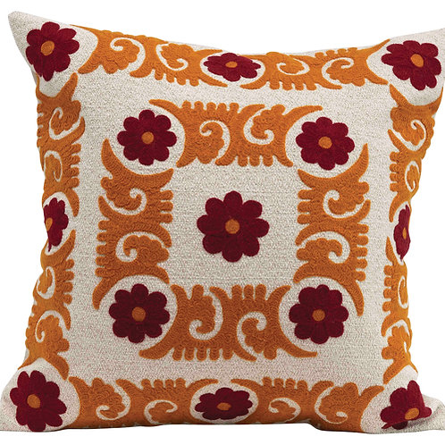 Square Floral Embroidered Cotton Pillow
