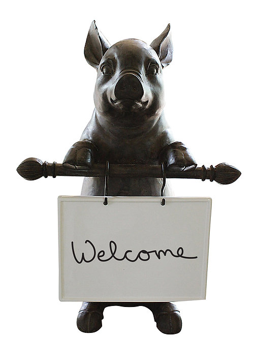 Resin Pig Holding Message Board