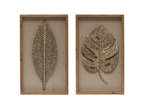 "20""H Metal Leaf Wall Decor with Shadowbox Wood Frame (Set of 2 Styles)"