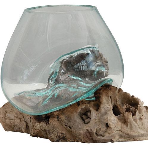 Glass Planter/Vase on Natural Wood Base