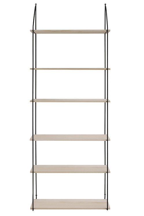 6 Tier Metal & Wood Wall Shelves